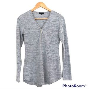 Dynamite Zip Front Marled Light Grey Long Sleeve